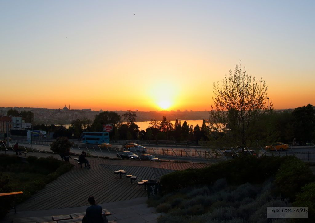 Sunset in Istanbul from Sishane Park
